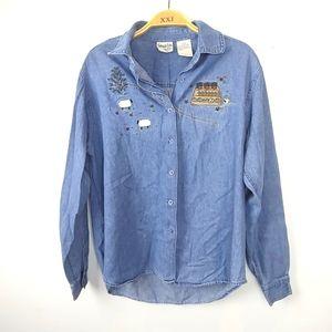 Vintage Cotton Cove CottageCore Chambray Shirt